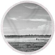 Foggy Day On A Marsh Round Beach Towel