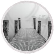 Round Beach Towel featuring the photograph Foggy Dock In Alabama  by John McGraw