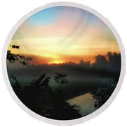 Foggy Edges Sunrise Round Beach Towel