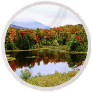 Foggy Fall Day In Vermont Round Beach Towel