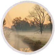 Foggy Fall Morning On Gary Avenue Round Beach Towel