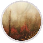 Foggy Fall On The Parkway Round Beach Towel