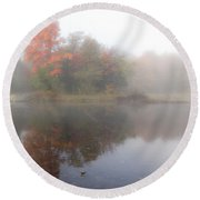 Foggy Fall Reflections - Square Round Beach Towel