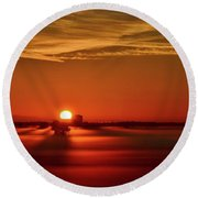 Foggy Farmlands Sunrise Round Beach Towel