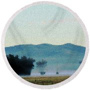 Foggy Field Round Beach Towel