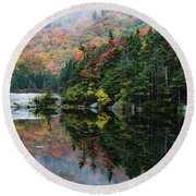 Round Beach Towel featuring the photograph Foggy Foliage Morning Kinsman Notch by Jeff Folger