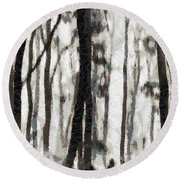 Foggy Forest Tree Paint Round Beach Towel