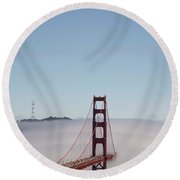 Round Beach Towel featuring the photograph Foggy Golden Gate by David Bearden