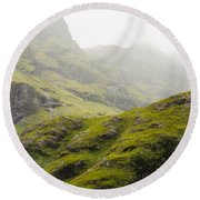 Round Beach Towel featuring the photograph Foggy Highlands Morning by Christi Kraft