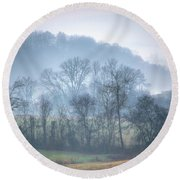 Foggy Hills Round Beach Towel