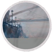 Round Beach Towel featuring the photograph Foggy Hoeg by Nop Briex