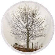 Foggy Lone Tree Hill Round Beach Towel