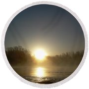Foggy Mississippi River Sunrise Round Beach Towel by Kent Lorentzen