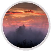 Foggy Mist At Dawn Round Beach Towel
