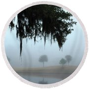 Foggy Morn Reflections Round Beach Towel