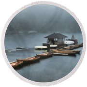 Foggy Morning At The Lake  Round Beach Towel by Judy Palkimas
