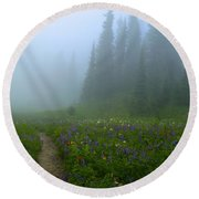 Round Beach Towel featuring the photograph Foggy Morning At Tipsoo by Lynn Hopwood