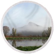 Foggy Morning Bluff Round Beach Towel
