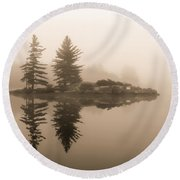 Foggy Morning Caution Round Beach Towel