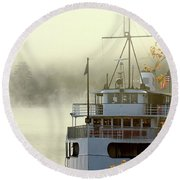 Foggy Morning Cruise Round Beach Towel
