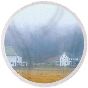 Foggy Morning Farm In West Chester, Pa Round Beach Towel