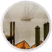 Foggy Morning In Gloucester Ma Round Beach Towel