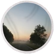 Foggy Morning In May Round Beach Towel by Maria Urso