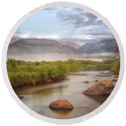 Foggy Morning In Moraine Park Round Beach Towel