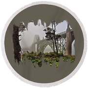 Round Beach Towel featuring the photograph A Foggy Morning On Yaquina Bay by Thom Zehrfeld