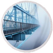 Foggy Morning Over The Bridge Round Beach Towel