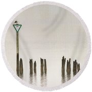 Round Beach Towel featuring the photograph Foggy Morning Texture Keyport Harbor by Gary Slawsky