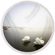 Foggy Morning View Near Bridge With Two Swans At Vltava River, Prague, Czech Republic Round Beach Towel