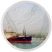Foggy Morro Bay Round Beach Towel by Methune Hively