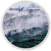 Foggy Mountain Of Sa Pa In Vietnam Round Beach Towel