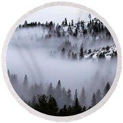 Foggy Mountain Pass Round Beach Towel