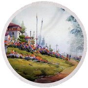 Foggy Mountain Village Round Beach Towel by Samiran Sarkar