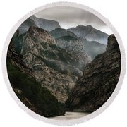 Foggy Mountains Over Neretva Gorge Round Beach Towel