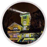 Round Beach Towel featuring the photograph Foggy Night At Hereford by Nick Zelinsky