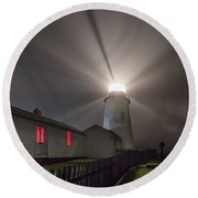 Foggy Night At Pemaquid Point Lighthouse Round Beach Towel