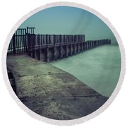 Foggy Night At Toes Beach Round Beach Towel