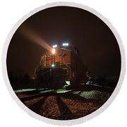 Round Beach Towel featuring the photograph Foggy Night Train  by Aaron J Groen