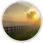 Foggy Pasture Sunrise Round Beach Towel