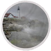 Foggy Portland Head Round Beach Towel by Skip Willits