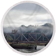 Foggy Rail Crossing Round Beach Towel by Adria Trail