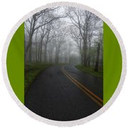 Foggy Road Round Beach Towel