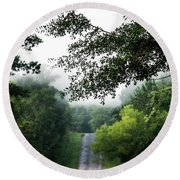 Round Beach Towel featuring the photograph Foggy Road To Eternity  by Shelby Young