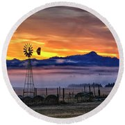 Round Beach Towel featuring the photograph Foggy Spearfish Sunrise by Fiskr Larsen