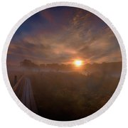 Foggy Sun #g6 Round Beach Towel
