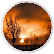 Round Beach Towel featuring the photograph Foggy Sunrise by Sumoflam Photography