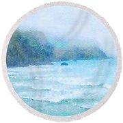 Foggy Surf Round Beach Towel